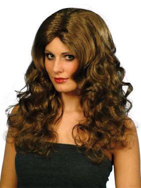 Ladies Glamour Fancy Dress Wig Brown